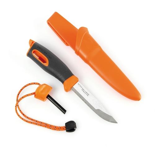 Couteau pierre à feu lame inox orange