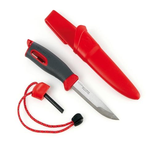 Couteau pierre à feu lame inox rouge